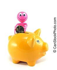 piggy bank, og, valuta euro