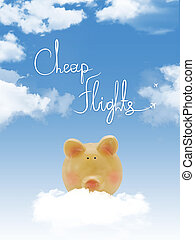 "Piggy bank on a cloud with ""cheap flights ""text and blue sky"