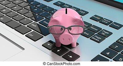 Piggy bank on a laptop. 3d illustration