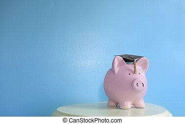 Piggy bank on blue