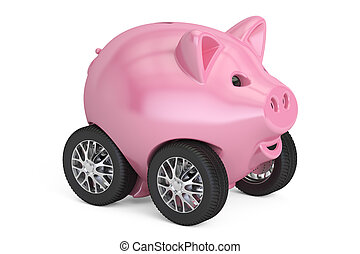 Piggy bank on car wheels, 3D rendering