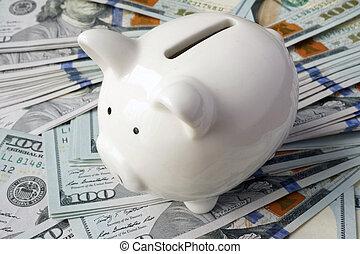 Piggy bank on dollar banknotes.