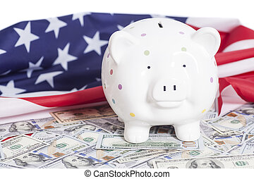 Piggy Bank on Dollars with American Flag