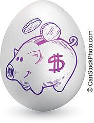 Piggy bank on easter egg - Doodle style piggy bank sketch on...