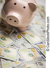 Piggy Bank on Newly Designed One Hundred Dollar Bills