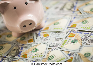 Piggy Bank on Newly Designed One Hundred Dollar Bills - ...