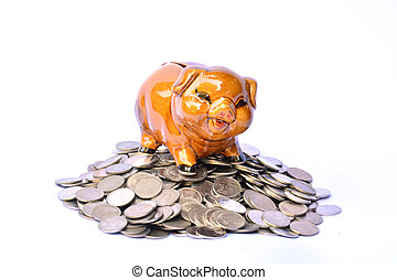 Piggy bank on stack coins, financial, tax season and success on white background isolate