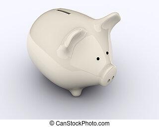 Piggy bank on white background - 3d render