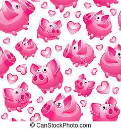 Piggy Bank on white background, seamless