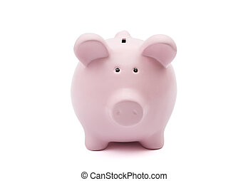 Piggy bank on white background with clipping path