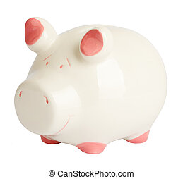 Piggy bank on white, side view