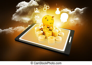 Piggy bank on with a tablet pc