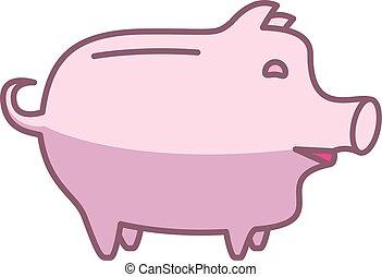 Piggy bank or money box symbol. Thin line linear vector...