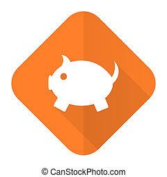 piggy bank orange flat icon