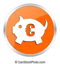 piggy bank orange glossy icon