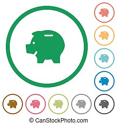 Piggy bank outlined flat icons