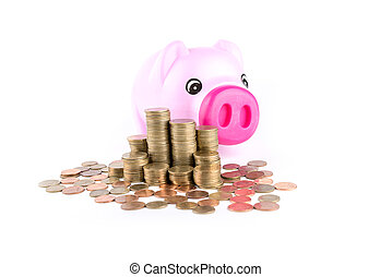 piggy bank over coins stack isolated on white background