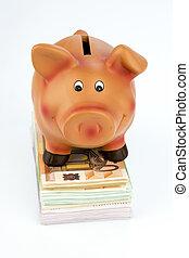 piggy bank, på