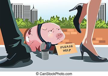 Piggy bank panhandling - A vector illustration of a piggy...