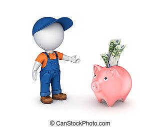 piggy-bank., personne, petit, workwear, 3d