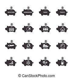 piggy bank , pictogram, set., geld, besparing