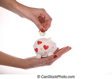 Piggy bank - Hand putting money in a piggy bank