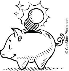 Piggy Bank - Piggy bank drawing.