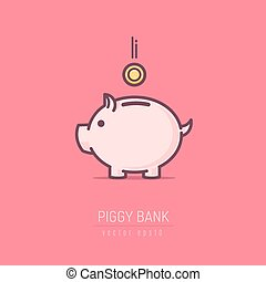 Piggy bank with golden coin. Vector illustration in line art style