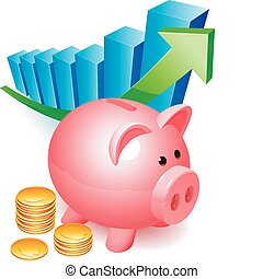 Piggy bank with golden coins and graph.