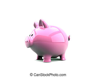 piggy bank pink isolated on white background