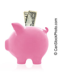 Piggy Bank - Pink piggy bank, in profile view with one...