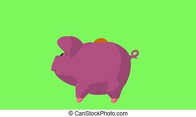 Piggy Bank - Pink piggy bank on a green background