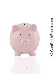 Piggy Bank - Pink piggy bank on a white background