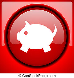 piggy bank red icon plastic glossy button