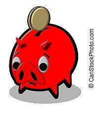 piggy bank red