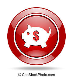 piggy bank red web glossy round icon