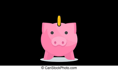 Save money concept with piggy bank. Business, finance, savings and expenses. 2D Motion Graphic Animation with RGB Alpha channel. Flat style cartoon illustration.