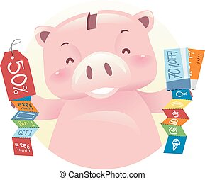 Piggy Bank Robot Mascot Discount Coupons