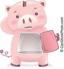 Piggy Bank Robot Mascot No Savings Illustration