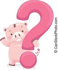 Piggy Bank Robot Mascot Question Mark Illustration