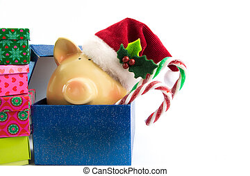 Piggy bank Santa in gift box isolated on white