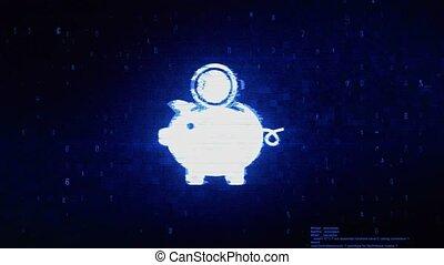 Piggy Bank Save Money Symbol Digital Pixel Noise Error...