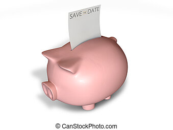 Piggy Bank Save The Date Note