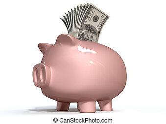 Piggy Bank Saving American Dollars