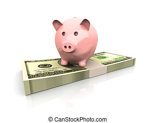 Piggy Bank saving dollars - 3D rendered Illustration....