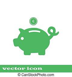 Piggy bank - saving money. green icon