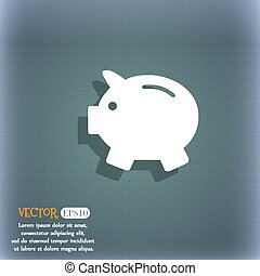 Piggy bank - saving money icon. On the blue-green abstract background with shadow and space for your text. Vector