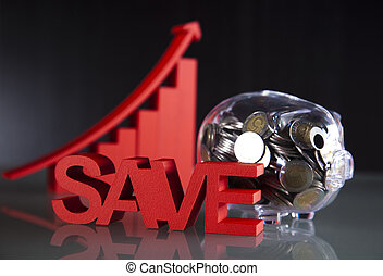 Piggy bank, saving money