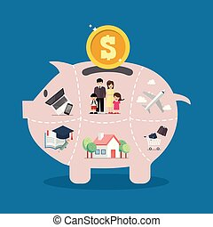 Piggy bank saving money portion for life