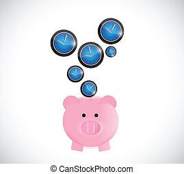 piggy bank saving time concept